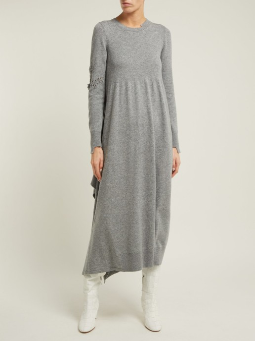BARRIE New Romantic Distressed-sleeve Cashmere Grey Dress