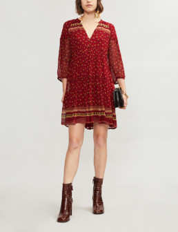 BA&SH Bailey Boho-Print Georgette Mini Carmin Dress