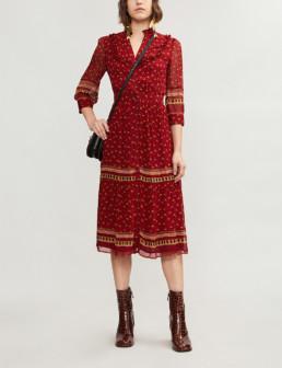 BA&SH Bari Boho-Print Gerogette Midi Carmin Dress