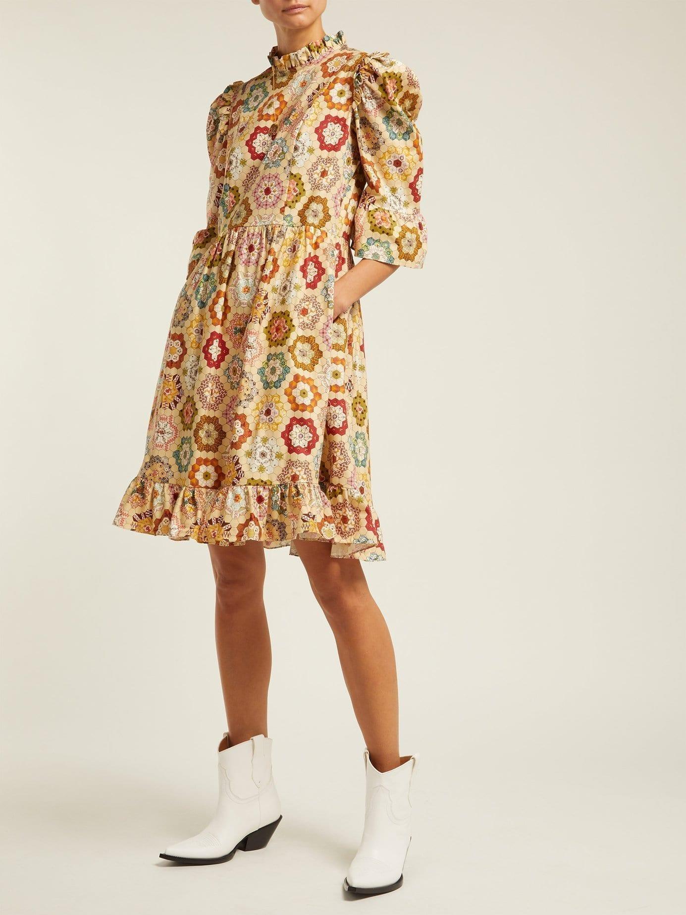 BATSHEVA Kaleidoscopic Print Cotton Beige Dress