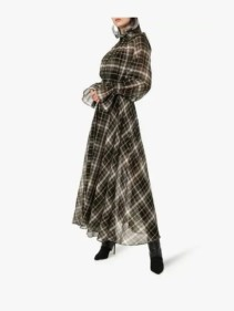 BEAUFILLE-Sol-High-Neck-Check-Print-Cotton-Silk-Blend-Green-Dress