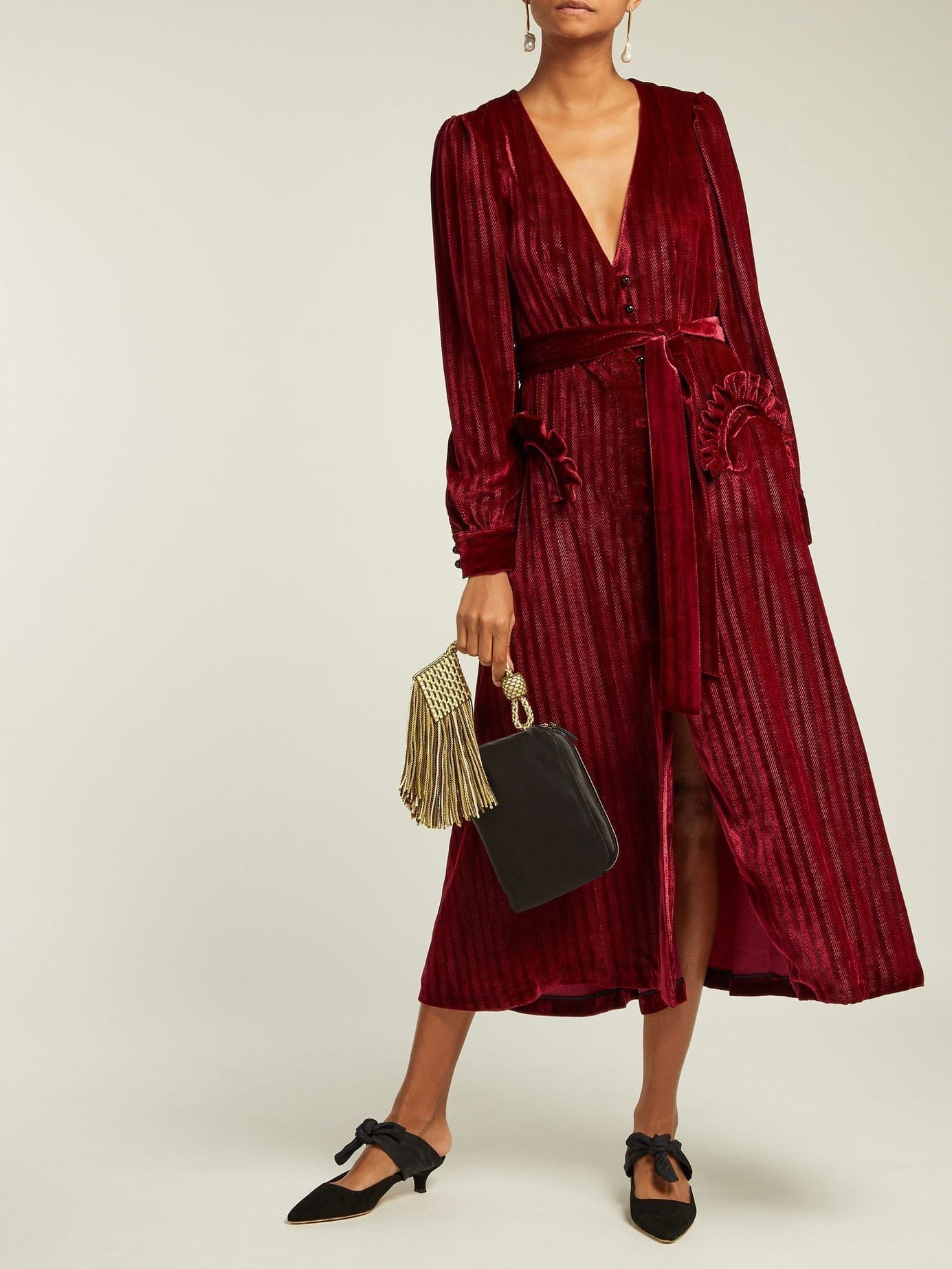 BLAZÉ MILANO Étoile Ballroom Zigzag Silk-blend Velvet Burgundy Dress