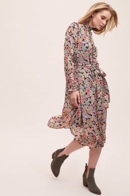 BONNIE Frill-Printed Floral Shirtdress