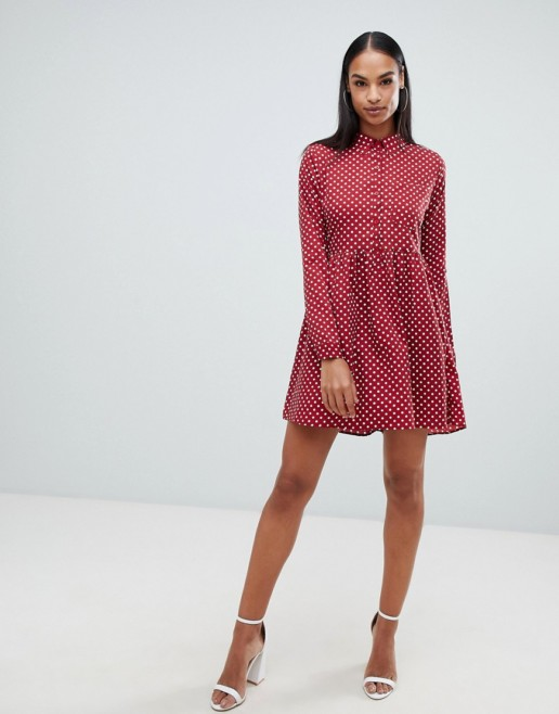 BOOHOO Polka Dot Smock Shirt Burgundy Dress