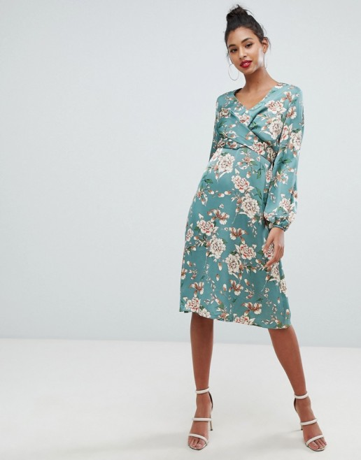 BOOHOO Wrap Midi Green / Floral Printed Dress