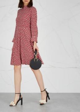BOSS Hapinia Penguin Print Silk Red Dress