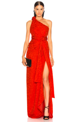 BRANDON MAXWELL Satin Jacquard One Shoulder Twist Front Red Gown