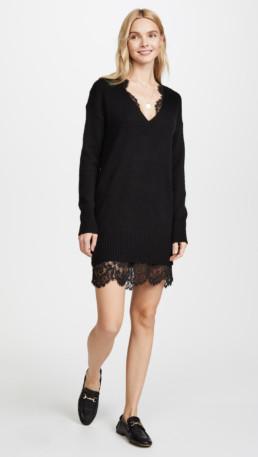 BROCHU WALKER Lace Looker Black Dress