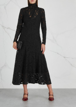 BY MALENE BIRGER Mulari Lace Midi Black Dress