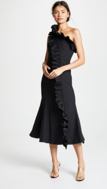 C/MEO COLLECTIVE You Or Me Midi Black Dress