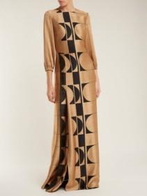 CARL KAPP Osiris Abstract Jacquard Gold Gown