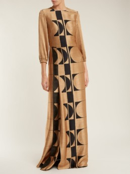CARL KAPP Osiris Abstract Jacquard Gold Gown