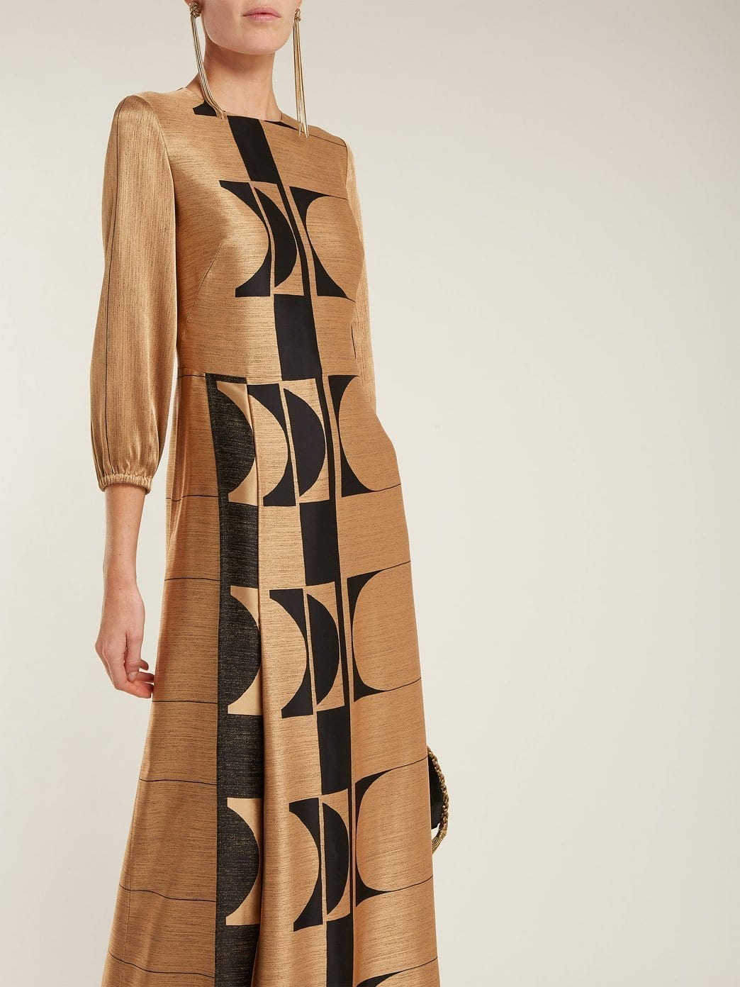 CARL KAPP Osiris Abstract Jacquard Gold Gown_2