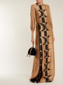 CARL KAPP Osiris Abstract Jacquard Gold Gown_3