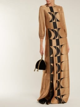 CARL KAPP Osiris Abstract Jacquard Gold Gown_3