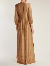 CARL KAPP Osiris Abstract Jacquard Gold Gown_4