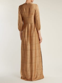 CARL KAPP Osiris Abstract Jacquard Gold Gown_4