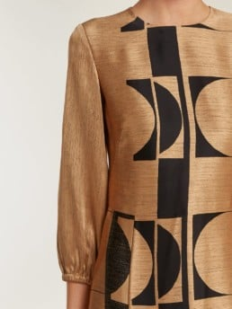 CARL KAPP Osiris Abstract Jacquard Gold Gown_5