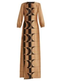 CARL KAPP Osiris Abstract Jacquard Gold Gown_6