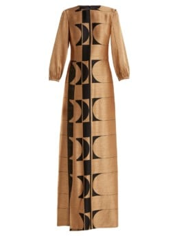 CARL KAPP Osiris Abstract Jacquard Gold Gown_6