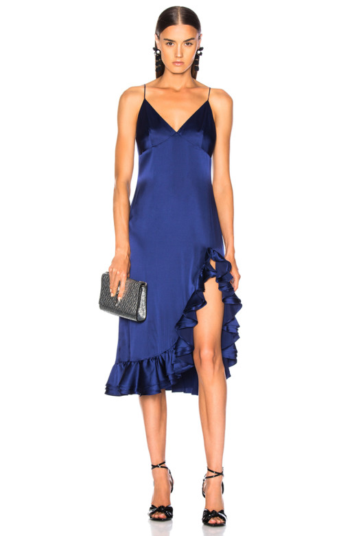 CAROLINE CONSTAS Elvira Slip Blue Dress