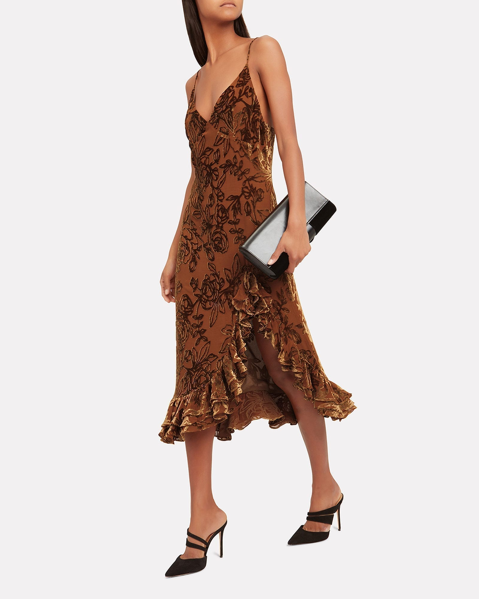 CAROLINE CONSTAS Elvira Velvet Slip Brown Dress