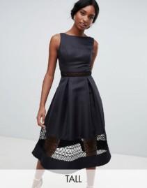 CHI CHI LONDON Lace Inserts Tall Structured Midi Black Dress