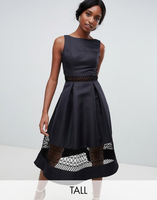 CHI CHI LONDON Lace Inserts Tall Structured Midi Black Dress