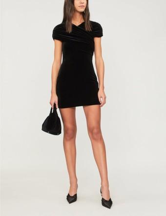 CHRISTOPHER KANE Wrapover Velvet Mini Black Dress
