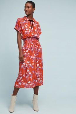 COREY LYNN CALTER Clementine Orange / Floral Printed Dress