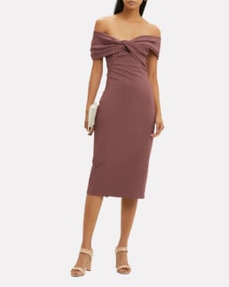 CUSHNIE ET OCHS Twist Top Pencil Blush Dress
