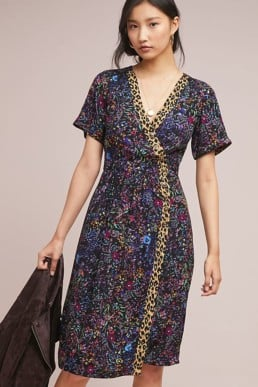 Claudia Printed Wrap Black Motif Dress