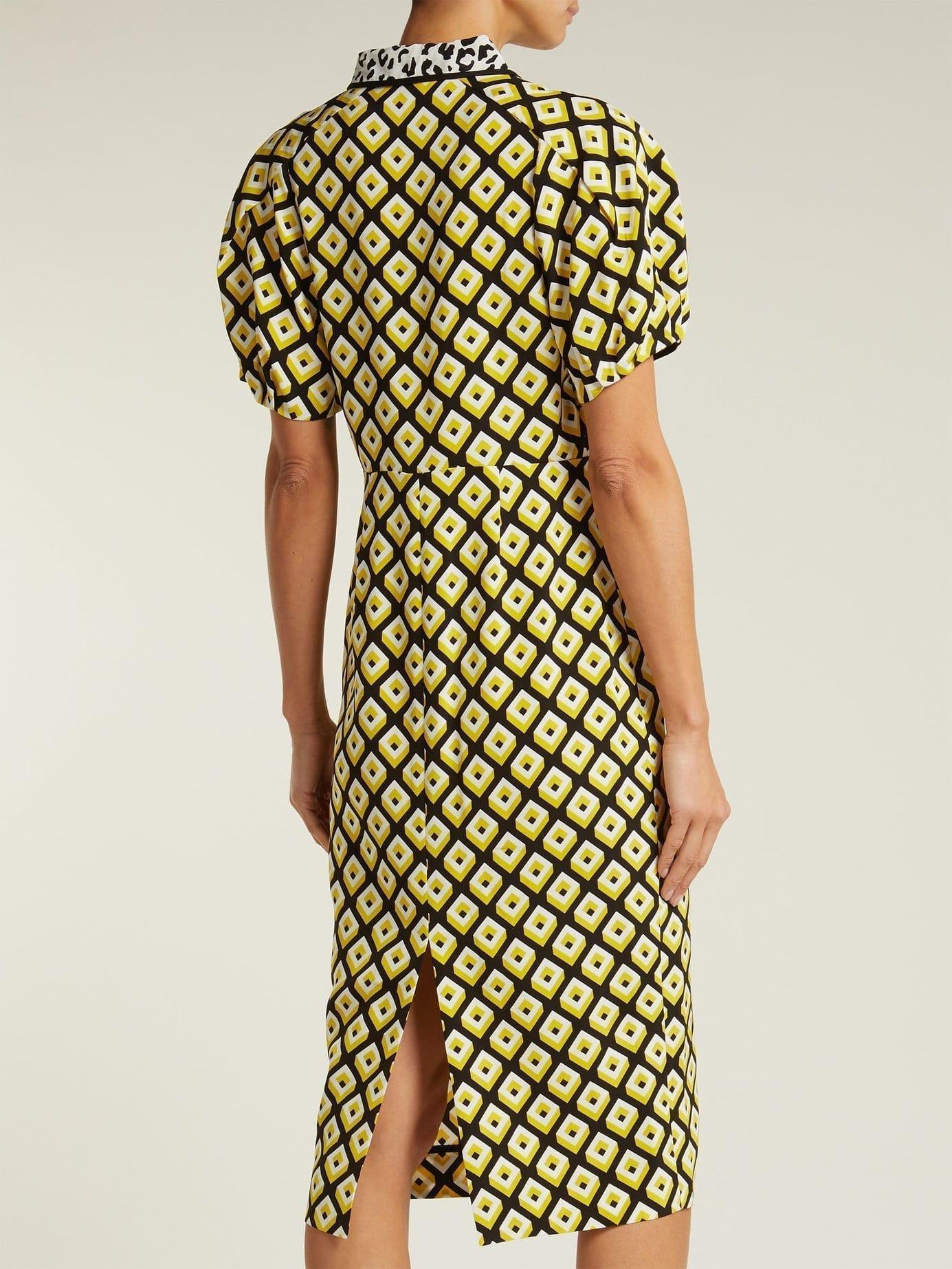 8d52106c615b DIANE VON FURSTENBERG Elly Crepe Midi Yellow Dress - We Select Dresses