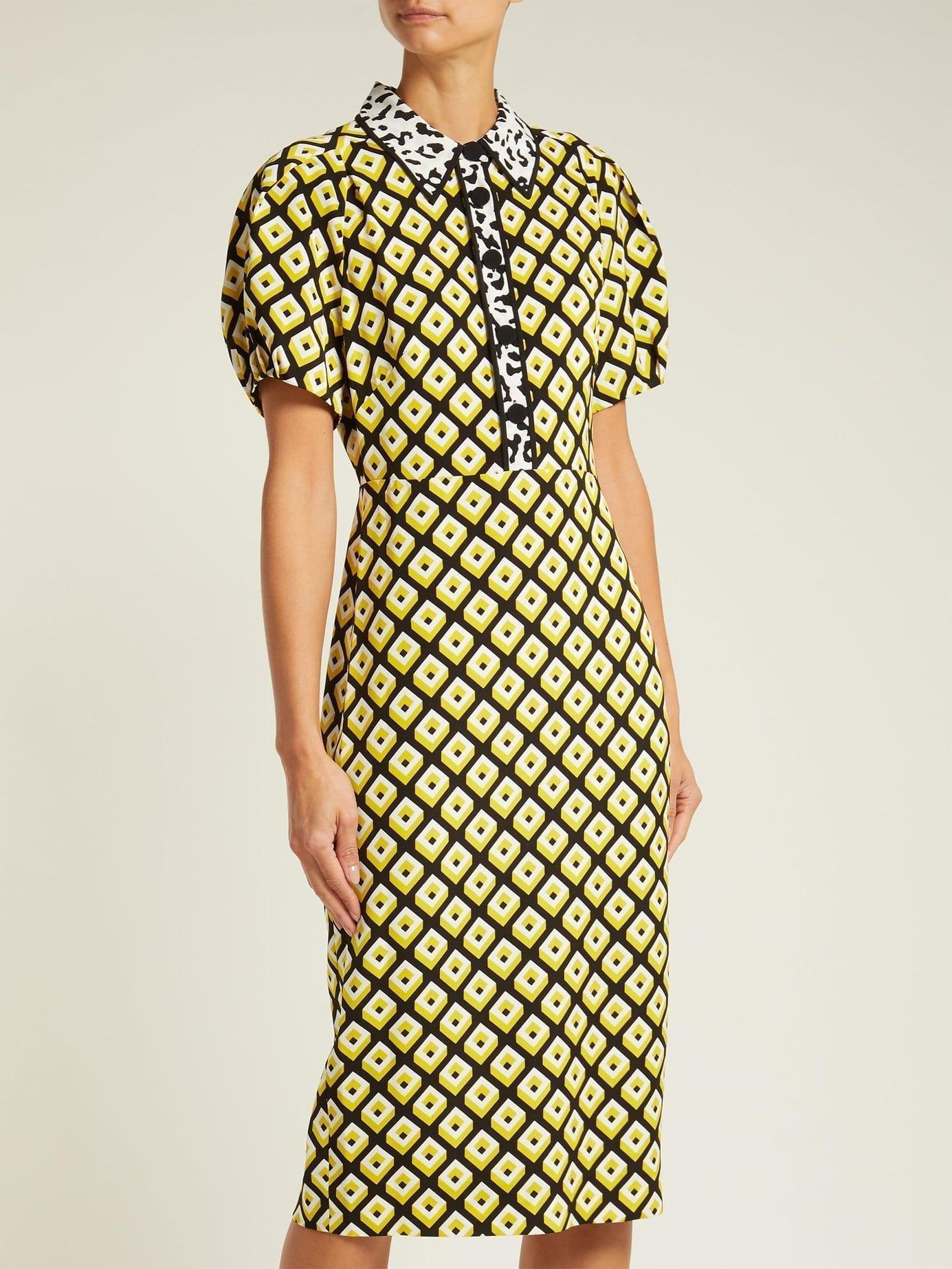 Diane Von Furstenberg Elly Crepe Midi Yellow Dress We