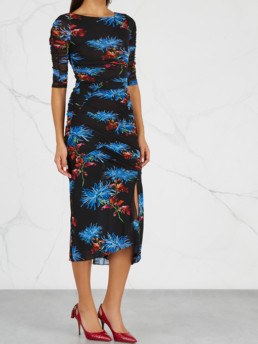 DIANE VON FURSTENBERG Floral-Print Ruched Tulle Multi Dress