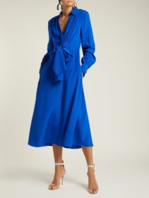 DIANE VON FURSTENBERG Von Waist Tie Silk Blue Dress