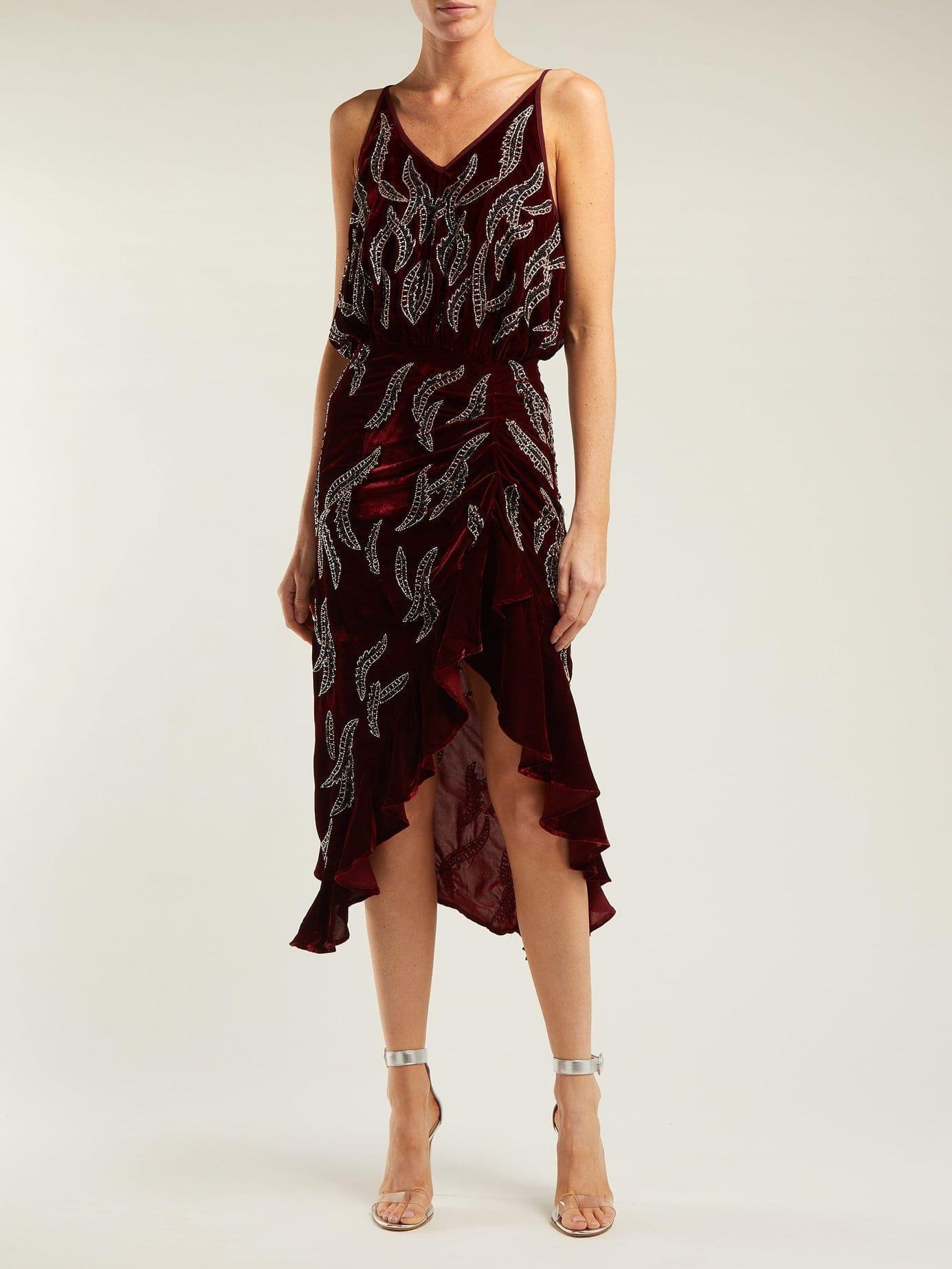 DODO BAR OR Agnes Bead Embellished Velvet Burgundy Dress