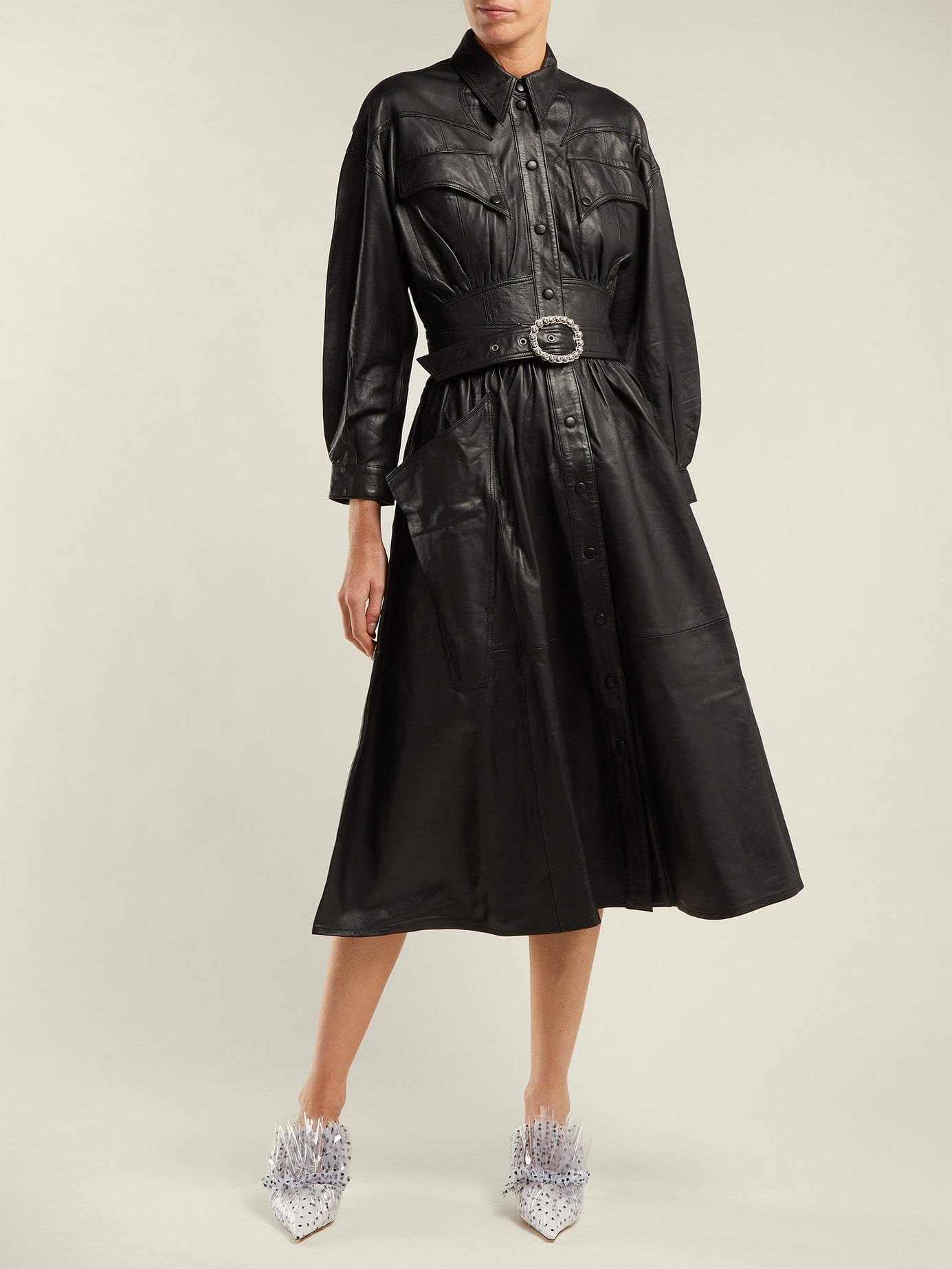 DODO BAR OR Belted Leather Black Dress