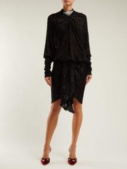 DODO BAR OR Ida Polka Dot Fil Coupé Mini Black Dress