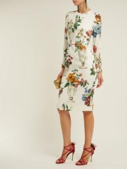 DOLCE & GABBANA Floral And Vase Print Silk Blend Crêpe White Dress