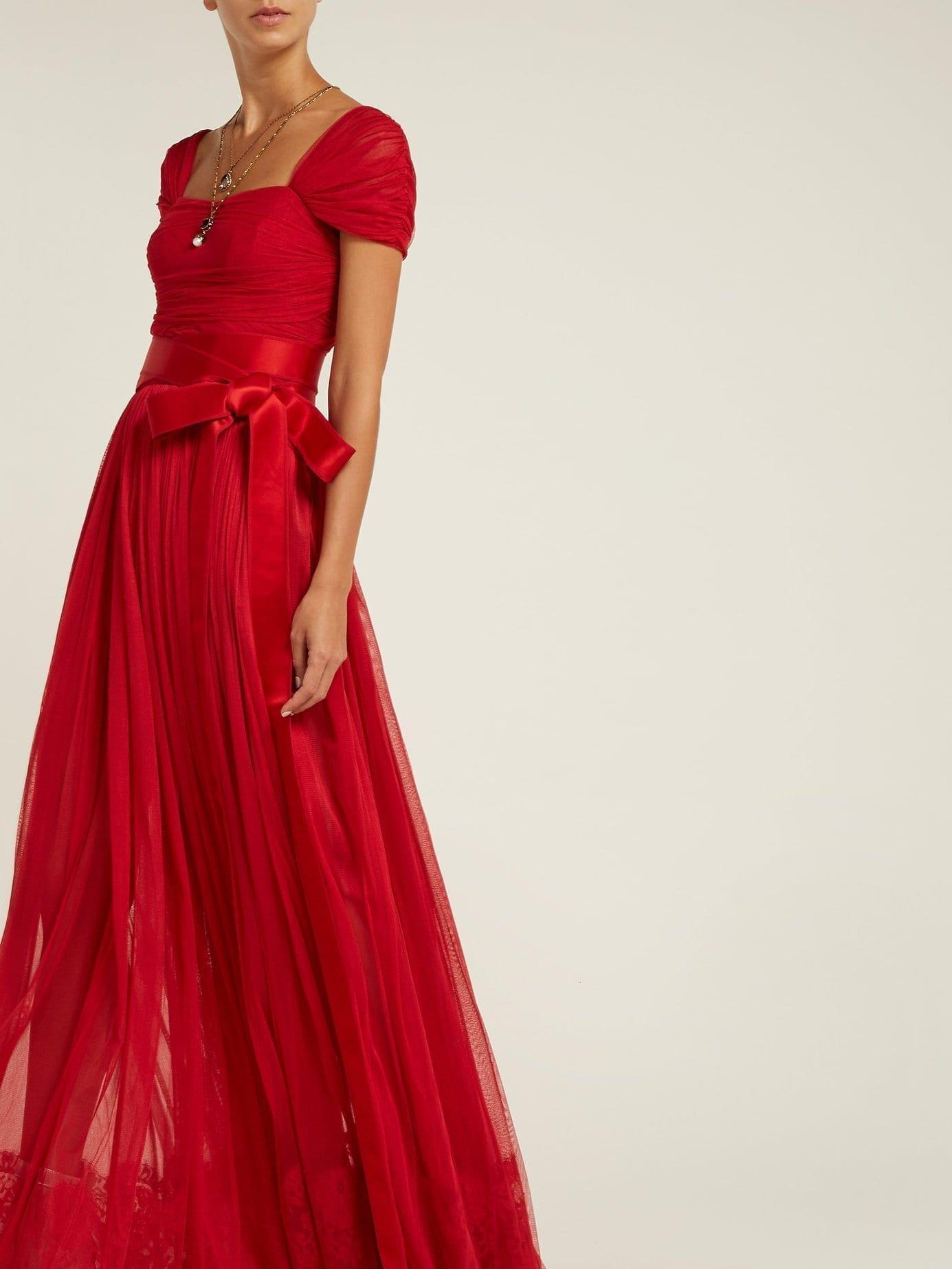 DOLCE & GABBANA Layered Silk Tulle Crimson