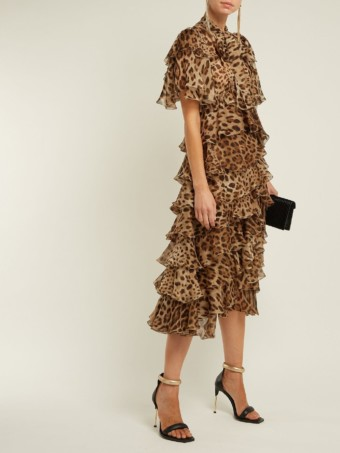 DOLCE & GABBANA Leopard Print Ruffled Silk Chiffon Brown Dress