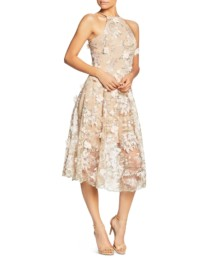DRESS THE POPULATION Evelyn Floral Midi Pink Dress