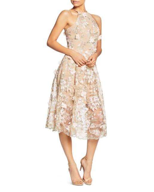 DRESS THE POPULATION Evelyn Floral Midi Pink Dress