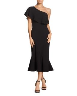 DRESS THE POPULATION Raquel One-Shoulder Black Dress
