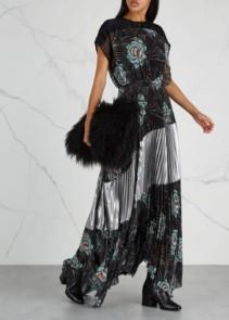 DRIES VAN NOTEN Dosan Printed Pleated Midi Black Dress