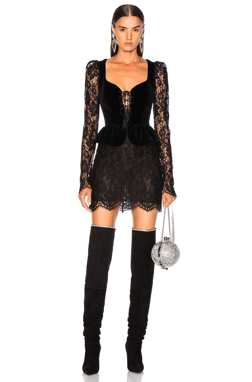 4e84878d5c DUNDAS Lace   Velvet Long Sleeve Corset Mini Black Dress - We Select ...