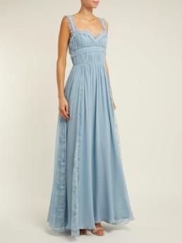 ELIE SAAB Lace Trimmed Silk Blend Evening Light Blue Gown