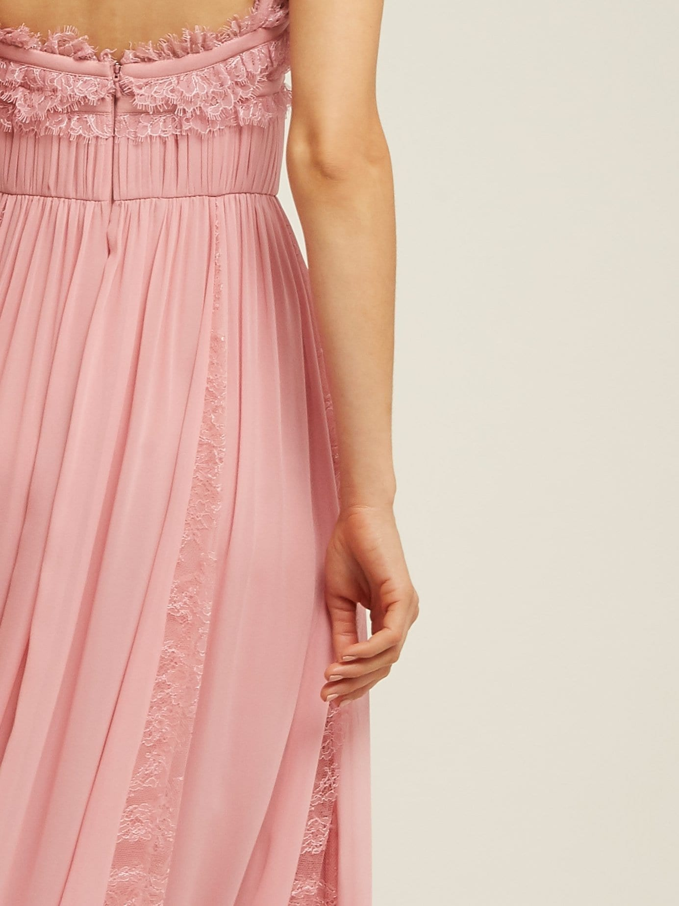 Elie Saab Lace Trimmed Silk Blend Evening Pink Gown
