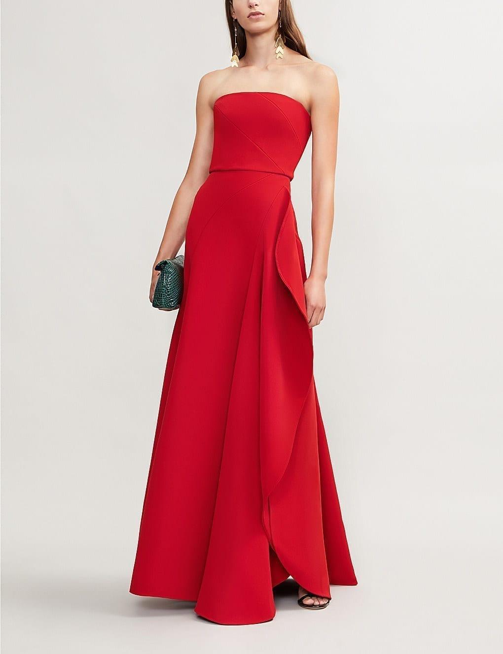 ELIE SAAB Strapless Asymmetric Woven Carmin Gown